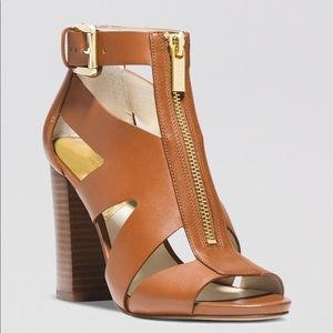 Anya Open Toe - Nude Leather Wedges